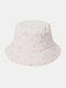 महिला कढ़ाई सितारे और चंद्रमा पैटर्न प्रिंट आरामदायक Soft आउटडोर यात्रा बाल्टी टोपी - सफेद