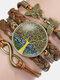 Vintage Tree Of Life Theme Pattern Butterfly Geometric Shape Hand-braided Glass PU Alloy Multi-layer Bracelet - #04