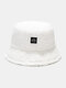 Women & Men Solid Color Casual Soft All-match Outdoor Bucket Hat - White