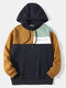 Mens Color Block Stitching Letter Embroidered Preppy Drawstring Hoodies - Brown