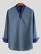 Mens Vintage Long Sleeve V Neck Shirts Party Formal Blouse Tunic Tops T shirts - Blue