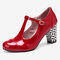 Women Solid Color T-Strap Geometric Graphic Chunky Heel Pumps - Red