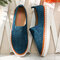 LOSTISY Breathable Hollow Suede Elastic Slip On Flat Loafers - Blue