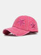 Unisex Cotton Solid Color Five-pointed Star Patch Holes Washed Made-old Baseball Cap - Rose