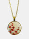 Vintage Glass Printed White Red Floral Pendant Necklace Women Necklace - Bronze