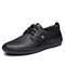 Men Lace-up Hard Wearing Non Slip Casual Microfiber Leather Loafers Shoes - Black
