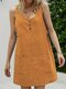 Solid Color Sleeveless Button Women Casual Dress With Pockets - Orange