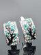 Vintage Plum Tree Women Earrings Inlaid Diamonds Symmetrical Pendant Earrings - Green