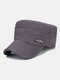 Men Solid Color Keep Warm Outdoor Flat Hat Military Hat - Gray