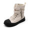 Unisex Kids Stylish Chain Decor Breathable Soft Sole Solid Color High Top Canvas Boots - White