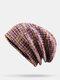 Strisce di colore arcobaleno misto lana donna Modello Plus Cappello lavorato a maglia con berretto in velluto spesso caldo - viola