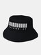 Unisex Cotton Barcode Letter Number Print All-match Sunshade Bucket Hat - Black