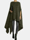 Solid Color Asymmetrical Half-sleeve Casual Cape Coat for Women - Army green