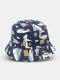 Unisex Cotton Double-sided Wearable Sailboat Graffiti Pattern Outdoor Sunshade Bucket Hat - Dark Blue