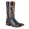 Women Large Size Slip-On Ethnic Pattern Dot Mid-calf Cowboy Boots - Black