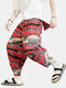 Mens Cotton Linen Ethnic Elephant Printed Loose Casual Harem Pants - Red