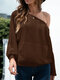 Solid O-neck Long Sleeve Pocket Sweater for Women - Coffee
