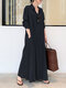 Solid Color Pocket Button Long SLeeve Casual Dress for Women - Navy