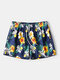 Floral & Leaves Print Loose Swimming Pants Breathable Drawstring Board Shorts With Pockets - Yellow