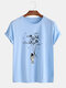 Mens Planet Astronaut Printed Cotton Round Neck Casual Short Sleeve T-Shirts - Blue
