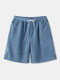 Mens Solid Color Corduroy Basics Texture Shorts With Pocket - Blue