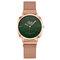 Trendy Classic Women Wristwatch Rose Gold Case Round Dial Full Alloy Quartz Watches - Green