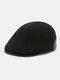 Men Ear Protection Keep Warm Plain Color Casual Forward Hat Beret Hat Flat Cap - Black