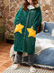Women Coral Fleece Double Star Pockets Thick Warm Loose Button Up Sleepwear Hooded Robes - Green