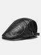 Collrown Men Faux Leather Retro Letters Pattern Flat Cap Universal All-match Forward Hat Beret Hat - Black