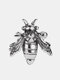 Vintage Three-dimensional Bee Earrings Temperament Metal Animal Shape Earrings - Silver