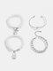 Hip Hop Lock Bracelet Metal Geometric OT Buckle Pearl Bracelet Set - Silver