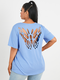 Butterfly Hollow Short Sleeve Plus Size Casual T-shirt - Blue