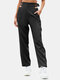 Solid Color Buckle Pocket High Waist Casual Pants For Women - Black