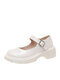 Women Student Retro Solid Color Comfy Round Toe Leather Shoes Casaul Platform Mary Jane Flat Shoes - Beige
