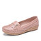 LOSTISY Women Ruffle Stricing Decor Hollow Comfy Non Slip Casual Flats - Pink