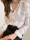 Print Long Sleeve Casual Plus Size Shirt For Women - White
