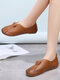 Plus Size Women V Shape Round Toe Slip On Driving Flat Shoes - Brown
