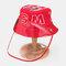 Children's Sun Hat Windproof Dust Cap Big-edge Outdoor Anti-UV Detachable Face Screen  - Red