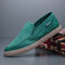 Men Slip-on Breathable Round Toe Hard Wearing Daily Canvas Shoes - Green