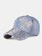 Women Denim Rhinestone Decorated Butterfly Pattern Broken Hole Casual Sunshade Baseball Caps - #02