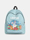 Women Cute Rabbit Colorful Eggs Happy Easter Polyester Bag Large Capacity Backpack - 9