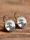 Vintage Glass Dangle Women Earrings Plant Flower Pattern Earrings Jewelry - #06