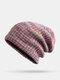Strisce di colore arcobaleno misto lana donna Modello Plus Cappello lavorato a maglia con berretto in velluto spesso caldo - Rosso