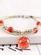 Vintage Handmade Dried Flowers Glass Ball Alloy Ceramic Bracelet - #02