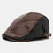 Collrown Men Faux Leather Retro Casual Stripe Pattern Contrast Color Leather Forward Hat Beret Hat - Coffee