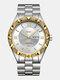 Large Dial Men Business Watch Steel Band Luminous Calendar Waterproof Quartz Watch - #04