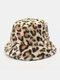 النساء والرجال صوف الحمل الدافئة Soft ليوبارد نمط عارضة شخصية دلو قبعة - الكاكي