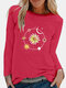 Casual Daisy Print O-neck Plus Size T-shirt - Rose