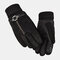 Men Leather Plus Velvet Thick Screen Touchable Riding Driving Motorcycle Windproof Keep Warm Full-finger Gloves - #02