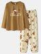 Women Cute Bear Letter Print Loose O-Neck Two-Piece Sleepwear Home Causal Pajamas Set - Apricot